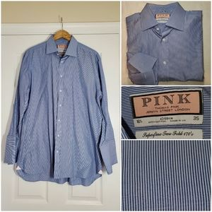 Thomas Pink French Cuff Blue Stripe Dress Shirt
